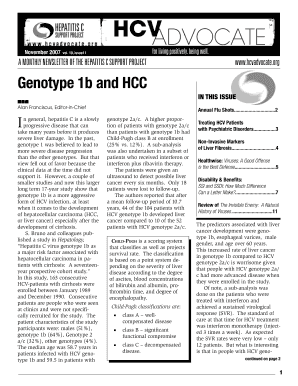 HCV Advocate Newsletter November 2007 The HCV Advocate newsletter is a valuable resource designed to provide the hepatitis C community with monthly updates on events clinical research and education