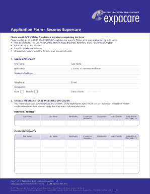 Fillable Online Application Form - Securus Supercare Fax Email Print