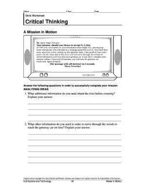 critical thinking worksheets for high school