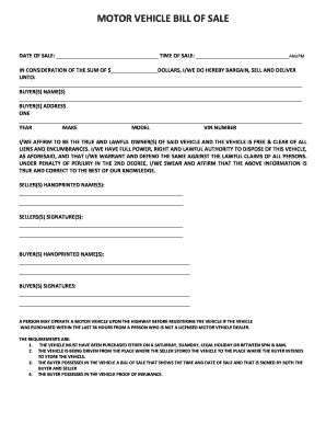 Fillable Online Co Weld Motor Vehicle Bill Of County Colorado Fax Email Print Pdffiller