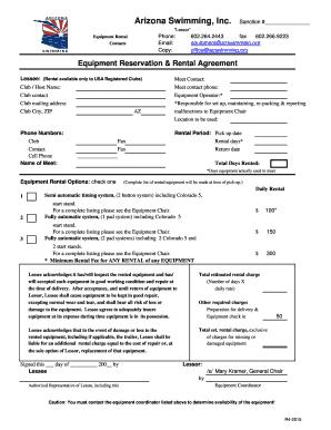 Fillable simple equipment rental agreement edit print az swim equipment rental contract r4 b2015b arizona swimming platinumwayz