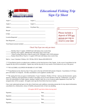 fishing trip sign up sheet fill online printable fillable blank