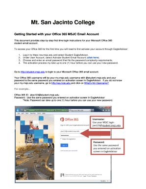 Getting Started With Your Office 365 Msjc Email Account Fill Online