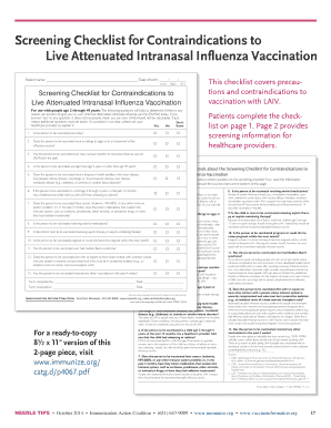 Live Attenuated Intranasal Influenza Vaccination Fill Online