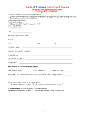 Bank of America Settlement Funds ProposalApplication Form