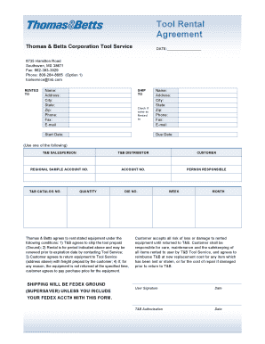 Fillable Online Tool Rental Agreement Page1doc Fax Email