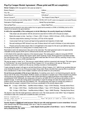 Fillable Online Pop Up Camper Rental Agreement Please Print
