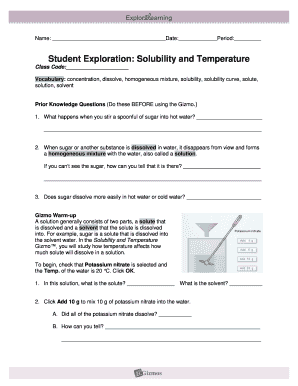 Student Exploration Solubility And Temperature - Fill ...