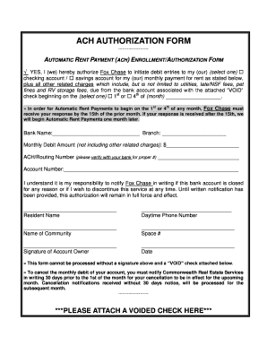 chase receive ach payments - Edit Online, Fill Out