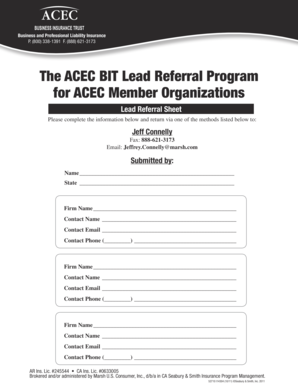 Fillable Online The ACEC BIT Lead Referral Program for ACEC Member
