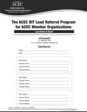 Fillable Online The ACEC BIT Lead Referral Program for ACEC Member