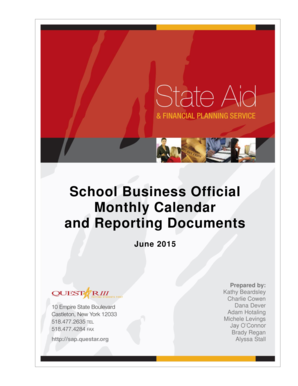 School Business Official Monthly Calendar - State Aid and