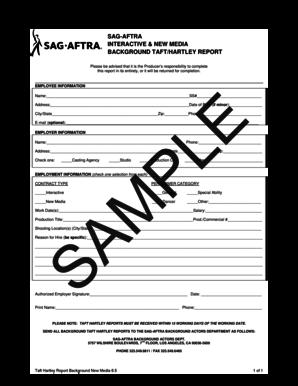 Fillable Online EMPLOYEE INFORMATION SAMPLE - SAG-AFTRA Fax
