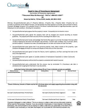 In lieu of foreclosure form templates screen shot at stunning deed.