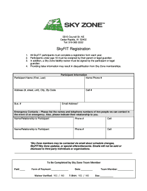 Magic image in printable sky zone waiver