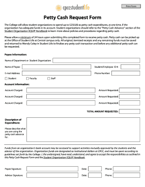 9+ Sample Petty Cash Request Forms | Sample Templates