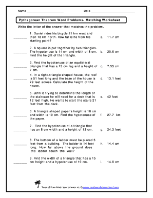 Printables Pythagorean Theorem Word Problems Worksheet pythagorean theorem word problems matching worksheet answers form answer key