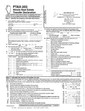 PTAX203 J Illinois Real Estate Transfer Declaration r1ease read the instructions before completing this form - co champaign il