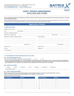 DEBIT ORDER AMENDMENT APPLICATION FORM   SATRIX