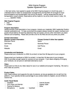 Fillable Online Nsa Virginia Program Speaker Agreement Form