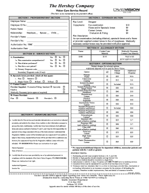 Fillable Online The Hershey Company - Davis Vision Fax ...
