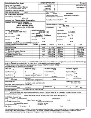Fillable Online Material Safety Data Sheet HMIS HAZARD