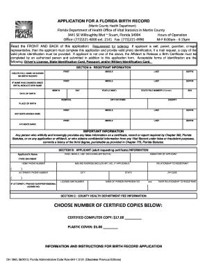 APPLICATION FOR A FLORIDA BIRTH RECORD (Martin County Health