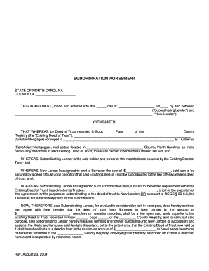 Subordination Agreement Subordination Of Deed Of Trust Fill