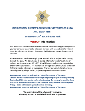 Car show vendor app - Knox County Sheriffs Office - knoxsheriff