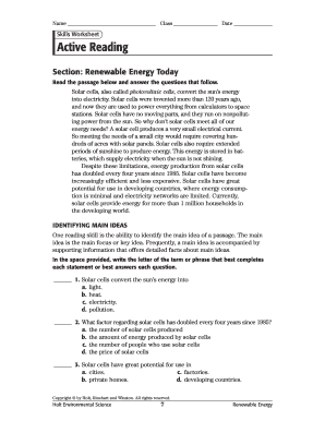 Active Reading Renewable Energy Today - Fill Online ...