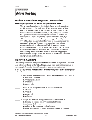 Skills Worksheet Active Reading Section Alternative Energy And ...
