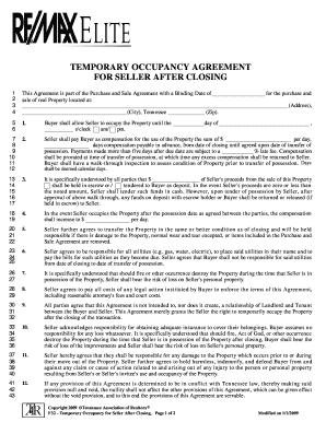 Fillable Online Temporary Occupancy Agreement Fax Email Print