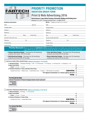 INSERTION ORDER FORM Print amp Web Advertising 2016
