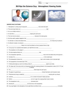 Fillable Online kyrene Bill Nye the Science Guy Atmosphere Viewing ...