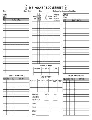 ice hockey score sheets Ice Hockey Scoresheet Forms and Templates - Fillable
