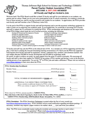 Membershipform-teachers TJ PTSA teacher membership form - tjhsst