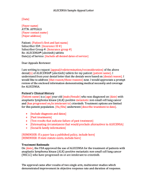 Sample letter of appeal for reconsideration forms and templates alecensa sample appeal letter use this form as guidance when you submit an appeal expocarfo Images