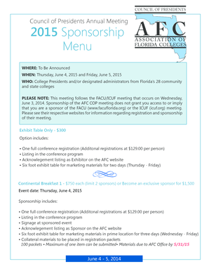 Council of Presidents Annual Meeting 2015 Sponsorship Menu - myafchome
