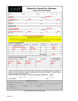 Fillable Online Request For Natural Gas Allowance Teco
