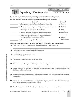 fillable online reinforcement and study guide 17 organizing lifes rh pdffiller com reinforcement and study guide answer key biology reinforcement and study guide answers chapter 6