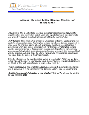 attorney demand letter general contractor instructions