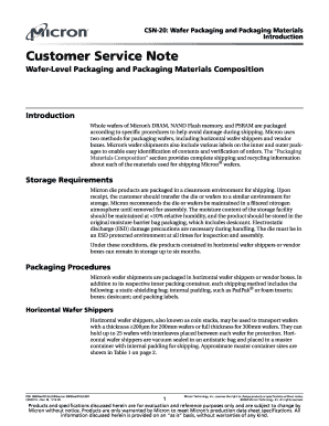 Fillable Online CSN-20  Micron customer service note, CSN-20