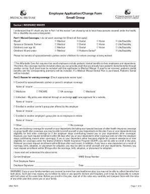 Employee ApplicationChange Form Small Group