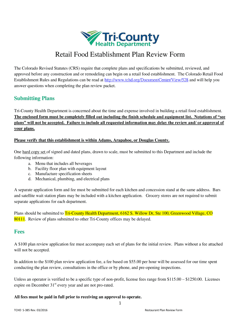 get the retail food establishment plan review form the colorado revised  statutes (crs) require that complete plans and specifications be submitted,