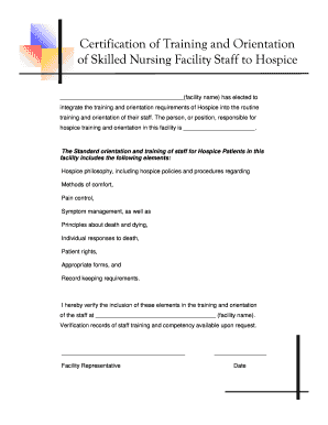 Fillable Online utahhospice Certification of Training and