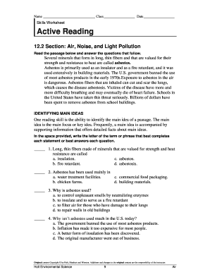active reading section air noise and light pollution answer key