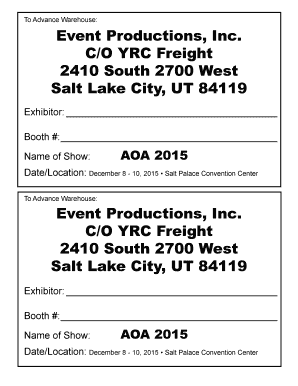 Fillable Online Event Productions Inc CO YRC Freight 2410 South 2700