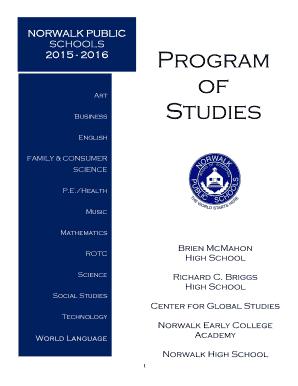norwalkps Fillable Online portal norwalkps SCHOOLS 2015 - 2016 Program of ...