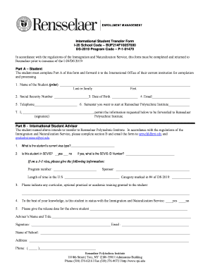 International Student Transfer Form I-20 School Code