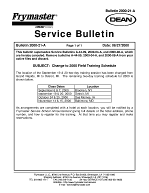 Fillable Online SB00-21  Change to Training Schedule Fax